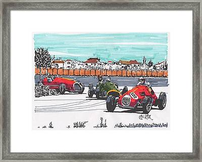 Stirling Moss Ferrari Grand Prix Of Italy Framed Print by Paul Guyer