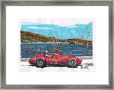 Stirling Moss Maserati Grand Prix Of Monaco Framed Print by Paul Guyer