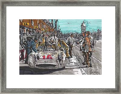 Stirling Moss Mercedes Benz Italian Grand Prix Framed Print by Paul Guyer