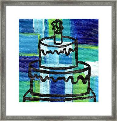 Stl250 Birthday Cake Blue And Green Small Abstract Framed Print by Genevieve Esson