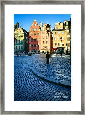 Stockholm Stortorget Square Framed Print by Inge Johnsson