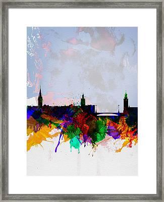 Stockholm Watercolor Skyline Framed Print by Naxart Studio
