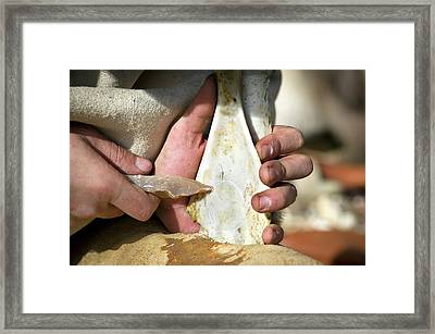 Stone Age Toy Reconstruction Framed Print by Philippe Psaila