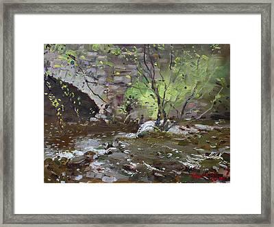 Stone Bridge At Three Sisters Islands Framed Print by Ylli Haruni