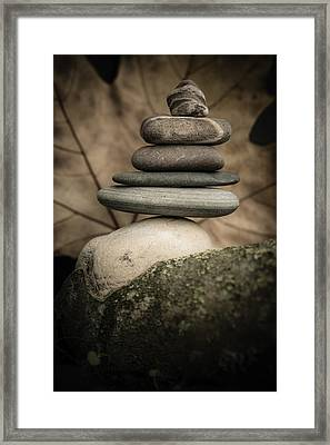 Stone Cairns Iv Framed Print by Marco Oliveira