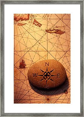 Stone Compass On Old Map Framed Print by Garry Gay