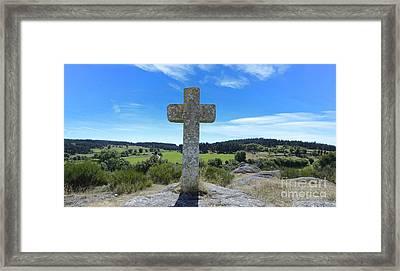 Stone Cross In Margeride. Haute Loire. France Framed Print by Bernard Jaubert
