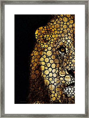 Stone Rock'd Lion - Sharon Cummings Framed Print by Sharon Cummings