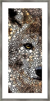 Stone Rock'd Wolf Art By Sharon Cummings Framed Print by Sharon Cummings