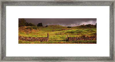 Stone Wall In A Field, Kula, Maui Framed Print by Panoramic Images
