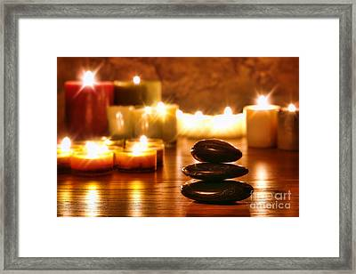 Stones Cairn And Candles Framed Print by Olivier Le Queinec