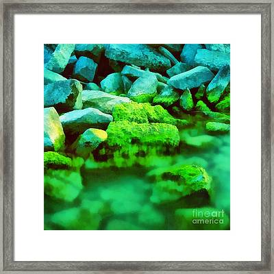 Stones In The Water Framed Print by Odon Czintos