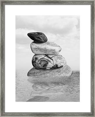 Stones In Water Black And White Framed Print by Gill Billington