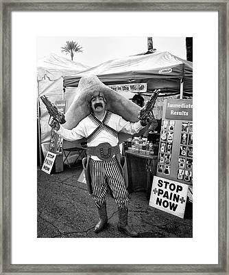 Stop Pain Now Palm Springs Framed Print by William Dey