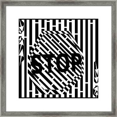 Stop Sign Maze Framed Print by Yonatan Frimer Maze Artist