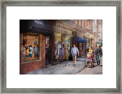 Store Front - Hoboken Nj - People Framed Print by Mike Savad