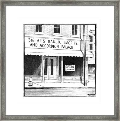 Store Front Window. Store Name Is Big Al's Banjo Framed Print by Matthew Diffee