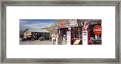 Store With A Gas Station Framed Print by Panoramic Images