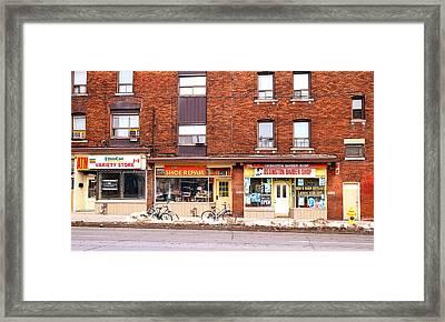 Stores On Ossington Framed Print by Valentino Visentini