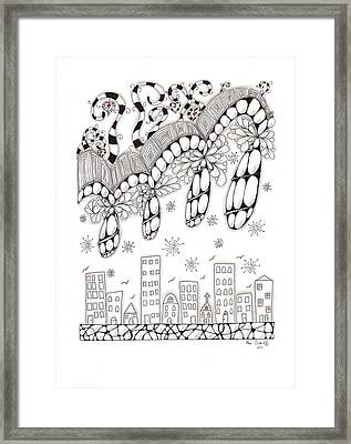 Storm Above The City Framed Print by Paula Dickerhoff