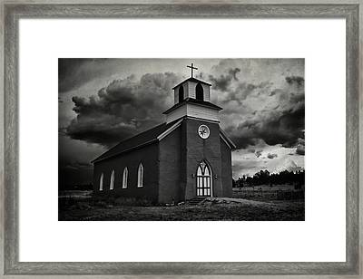 Storm At San Rafael Church Framed Print by Priscilla Burgers