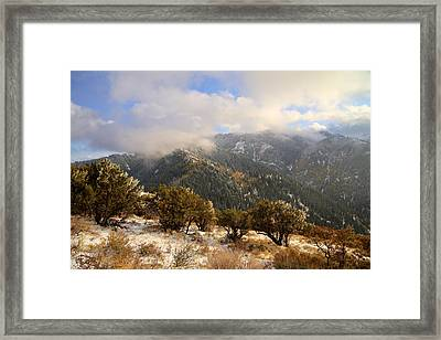 Storm Atop Oquirrhs Framed Print by Chad Dutson