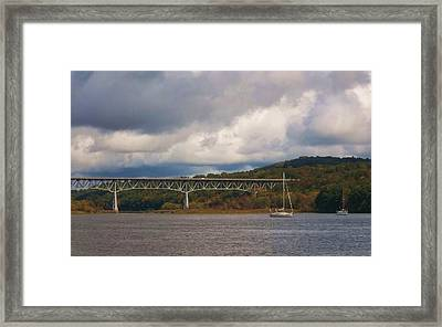 Storm Brewing Over Rip Van Winkle Bridge Framed Print by Ellen Levinson
