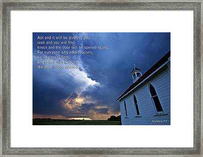 Storm Clouds And Scripture Matthew Country Church Framed Print by Mark Duffy