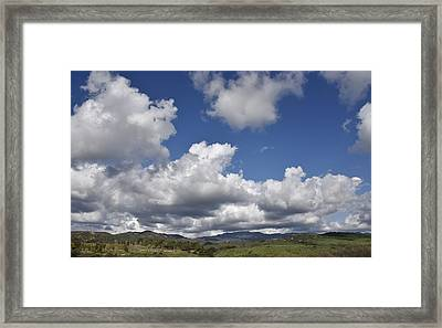Storm Clouds From Santiago Canyon Road Framed Print by Linda Brody
