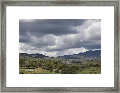 Storm Clouds From Santiago Canyon Road Vi Framed Print by Linda Brody