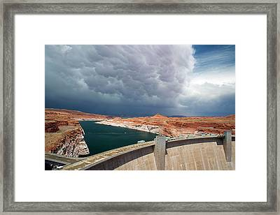 Storm Clouds Over Glen Canyon Dam Framed Print by Jim West