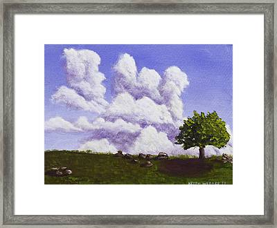 Storm Clouds Over Maine Blueberry Field Framed Print by Keith Webber Jr