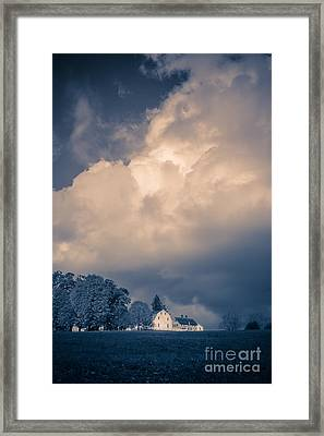 Storm Coming To The Old Farm Framed Print by Edward Fielding