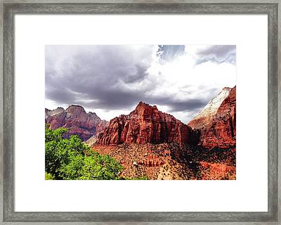 Storm Moving In Over Zion Framed Print by Dan Sproul