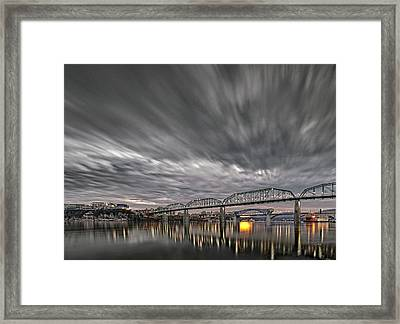 Storm Moving In Over Chattanooga Framed Print by Steven Llorca