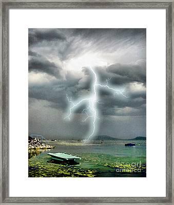Storm On Balaton Lake Framed Print by Odon Czintos