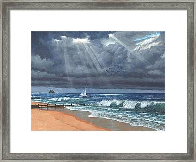 Storm Over Lindisfarne Framed Print by Richard Harpum