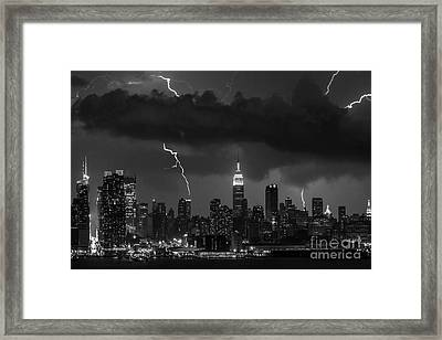 Storm Over Nyc  Framed Print by Jerry Fornarotto