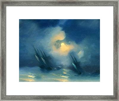 Storm Over Rough Seas Abstract Realism Framed Print by Georgiana Romanovna