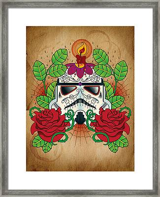 Storm Trooper Sugar Skull Framed Print by Samuel Whitton