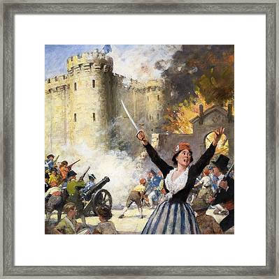 Storming The Bastille Framed Print by English School
