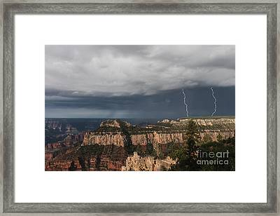 Storms At The Grand Canyon North Rim Framed Print by Sandra Bronstein