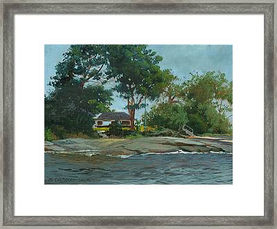Storms End Huckleberry Island Framed Print by Marguerite Chadwick-Juner