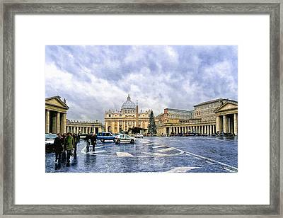 Storms Over St Peter's Basilica In Rome Framed Print by Mark E Tisdale