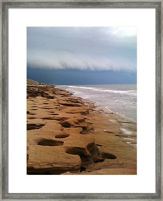 Stormy Coquina Framed Print by Julie Wilcox