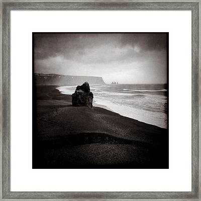 Stormy Day At Dyrholaey Framed Print by Dave Bowman