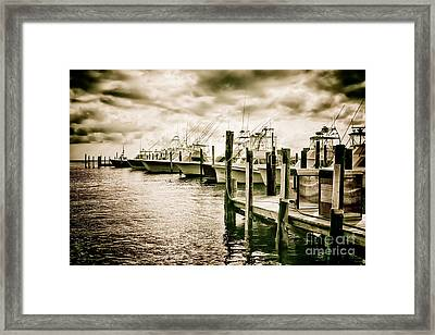 Stormy Marina On The Outer Banks Framed Print by Dan Carmichael