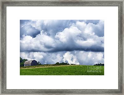 Stormy Sky And Barn Framed Print by Thomas R Fletcher