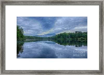 Stormy Sunrise Over Price Lake - Blue Ridge Parkway I Framed Print by Dan Carmichael