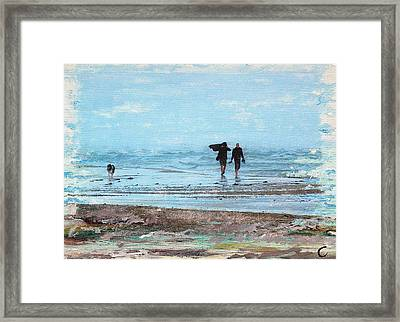 Stormy Walk At Grenen Framed Print by Cecilia Uneland